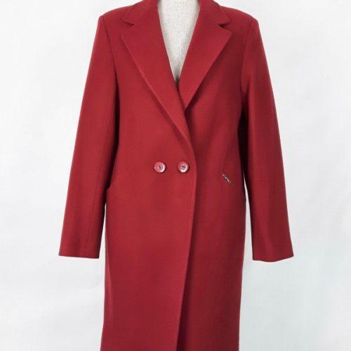 Wełniany wiosenny płaszcz damski Anita czerwony 1