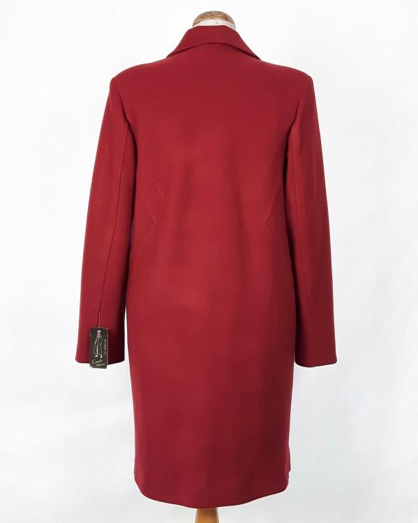 Wełniany wiosenny płaszcz damski Anita czerwony 2