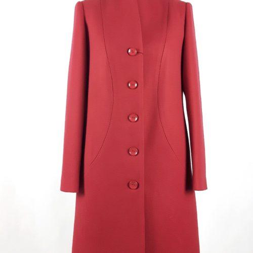 Elegancki damski wełniany płaszcz wiosenny Klara czerwony 1