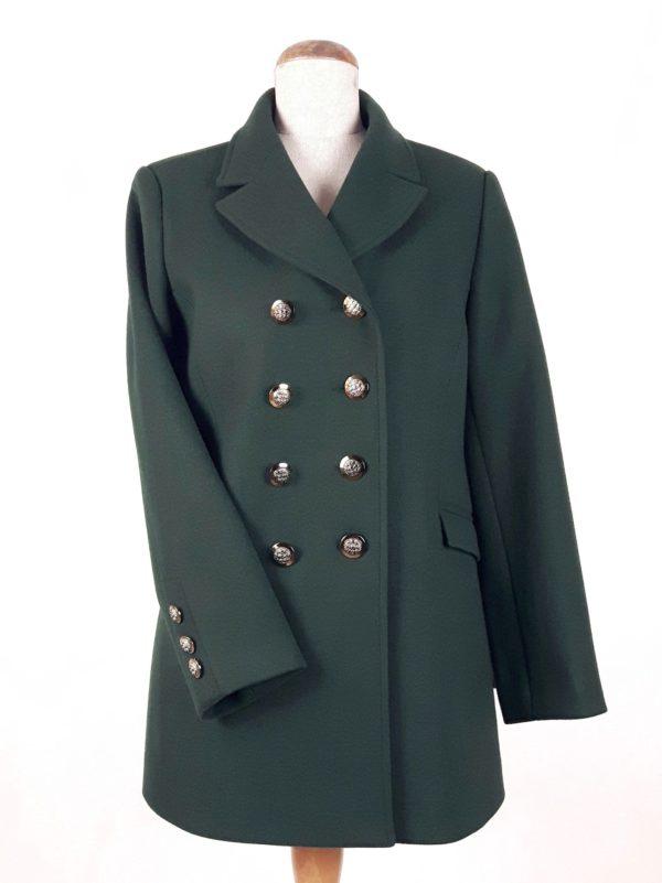 Damski militarny dwurzędowy płaszcz wiosenny Beata butelkowa zieleń 1