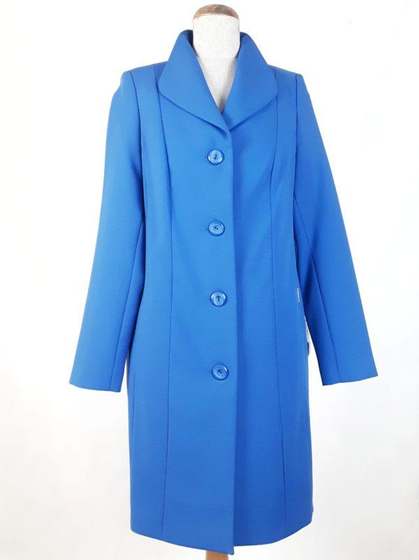 Elegancki damski płaszcz wiosenny z żorżety Żaneta kobaltowy (niebieski) 1