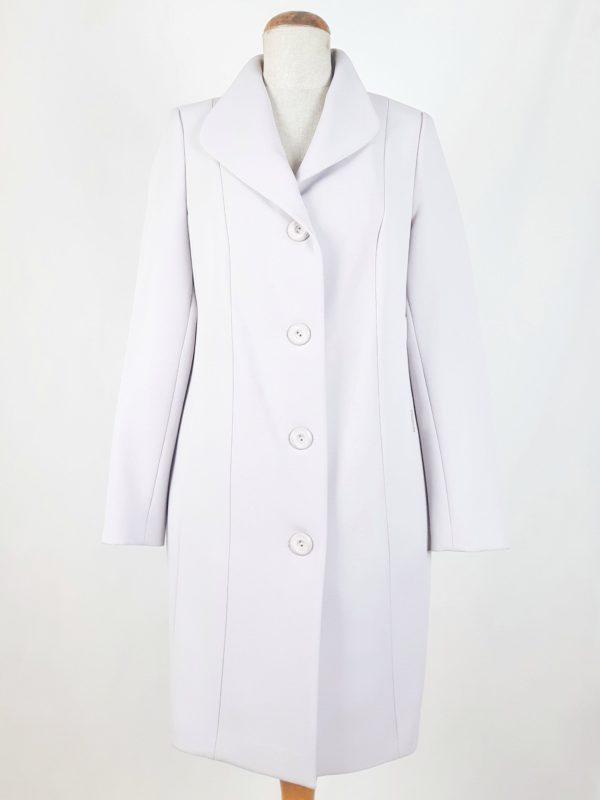 Elegancki damski płaszcz wiosenny z żorżety Żaneta piaskowy 1