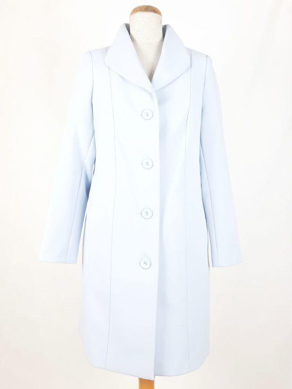 Elegancki damski płaszcz wiosenny z żorżety Żaneta błękit 1