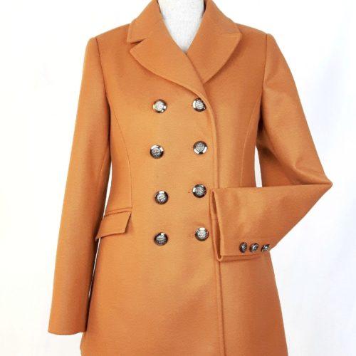 Damski militarny dwurzędowy płaszcz wiosenny Beata camel 1