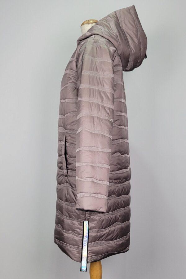 kurtka pikowana damska oversize z kapturem renata beżowa 2