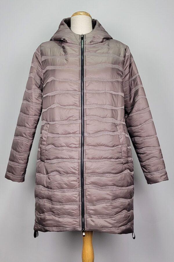 kurtka pikowana damska oversize z kapturem renata beżowa 1