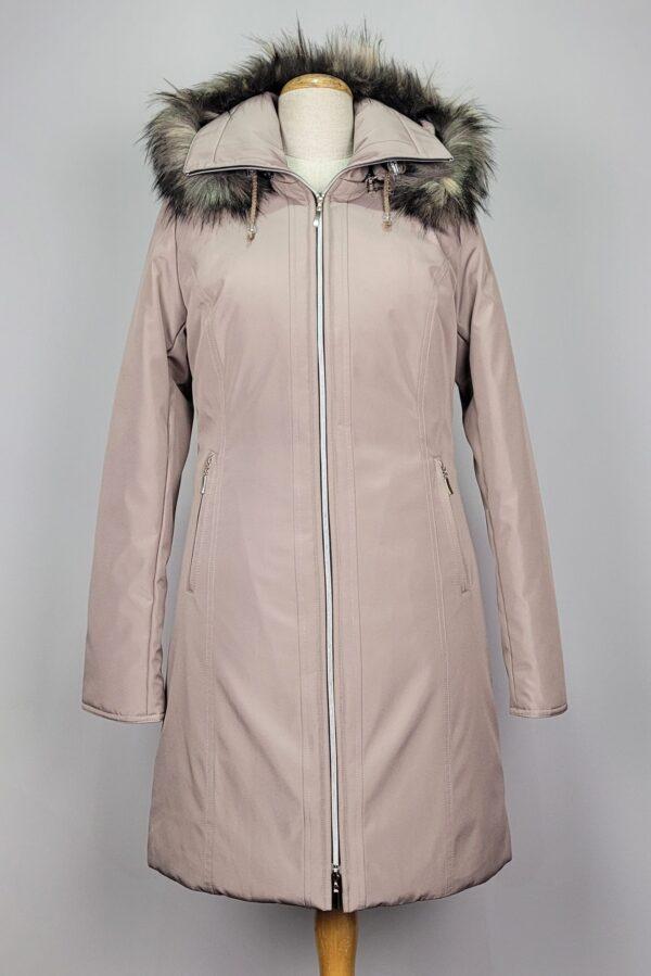 kurtka parka zimowa damska z futrzanym kapturem zuza beżowy 2