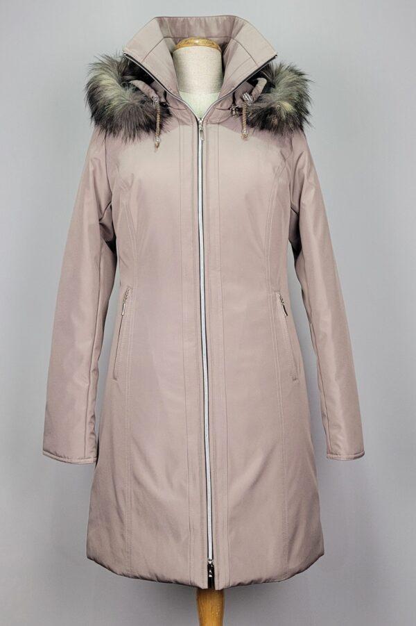 kurtka parka zimowa damska z futrzanym kapturem zuza beżowy 1