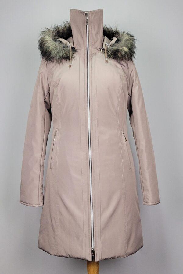 kurtka parka zimowa damska z futrzanym kapturem zuza beżowy 3