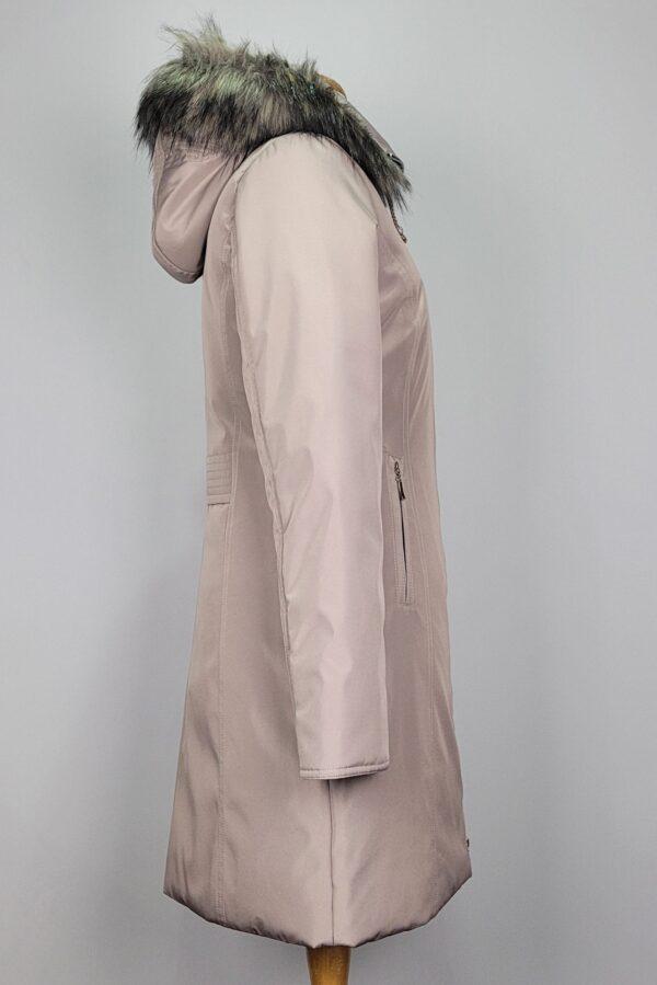 kurtka parka zimowa damska z futrzanym kapturem zuza beżowy 4