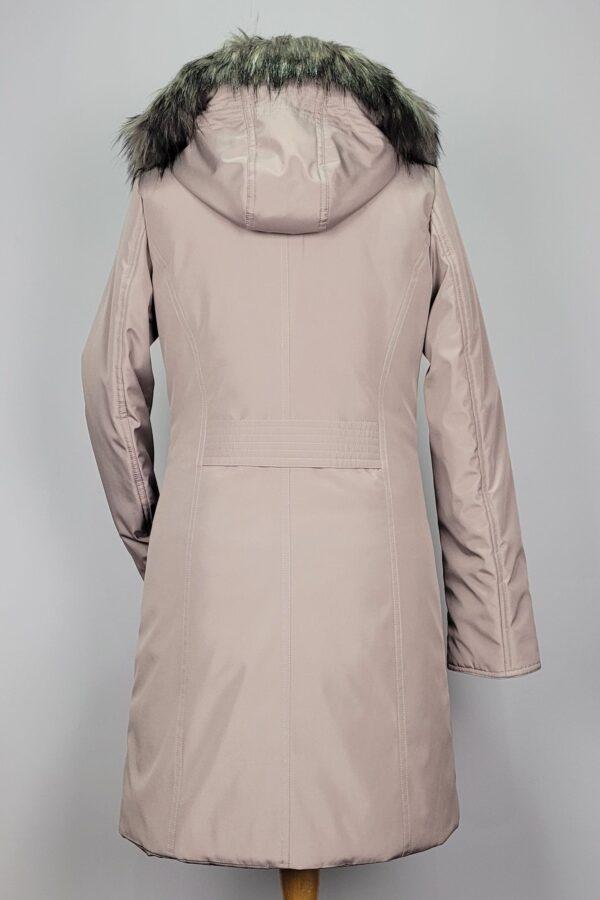 kurtka parka zimowa damska z futrzanym kapturem zuza beżowy 5