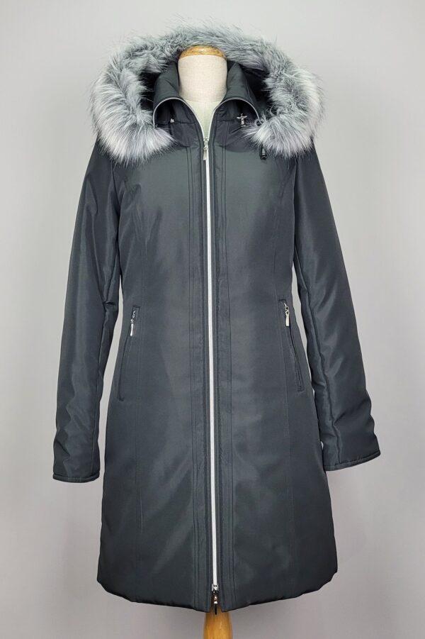 kurtka parka zimowa damska z futrzanym kapturem zuza czarna 1