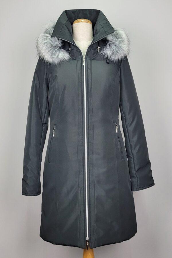 kurtka parka zimowa damska z futrzanym kapturem zuza czarna 2