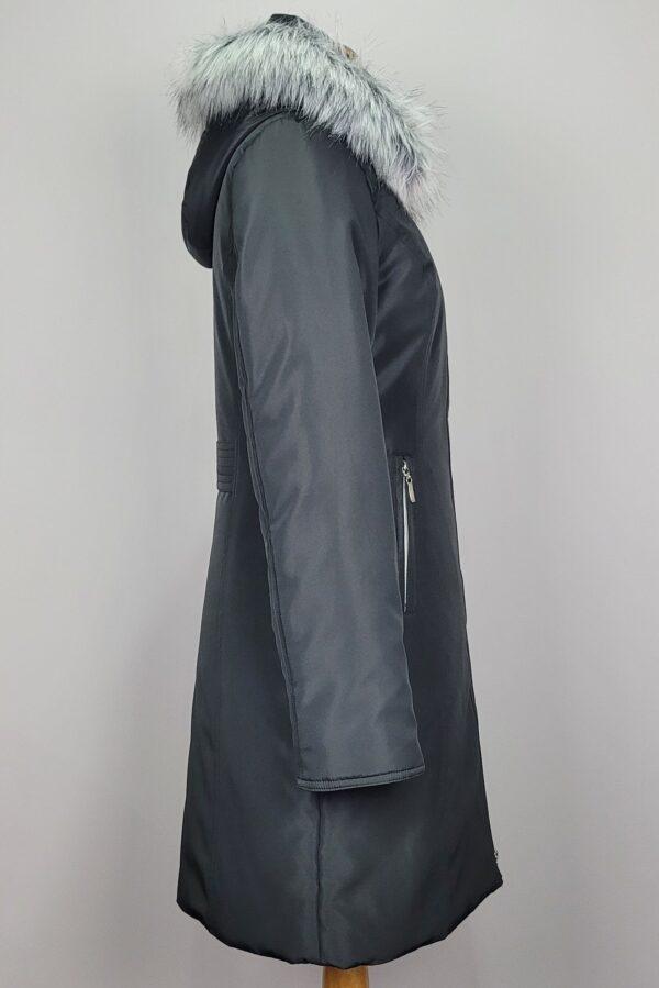 kurtka parka zimowa damska z futrzanym kapturem zuza czarna 4