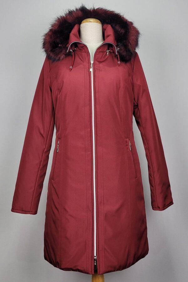 kurtka parka zimowa damska z futrzanym kapturem zuza czerwona 1