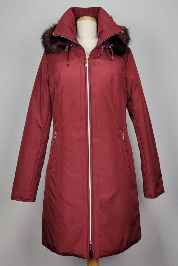 kurtka parka zimowa damska z futrzanym kapturem zuza czerwona 2