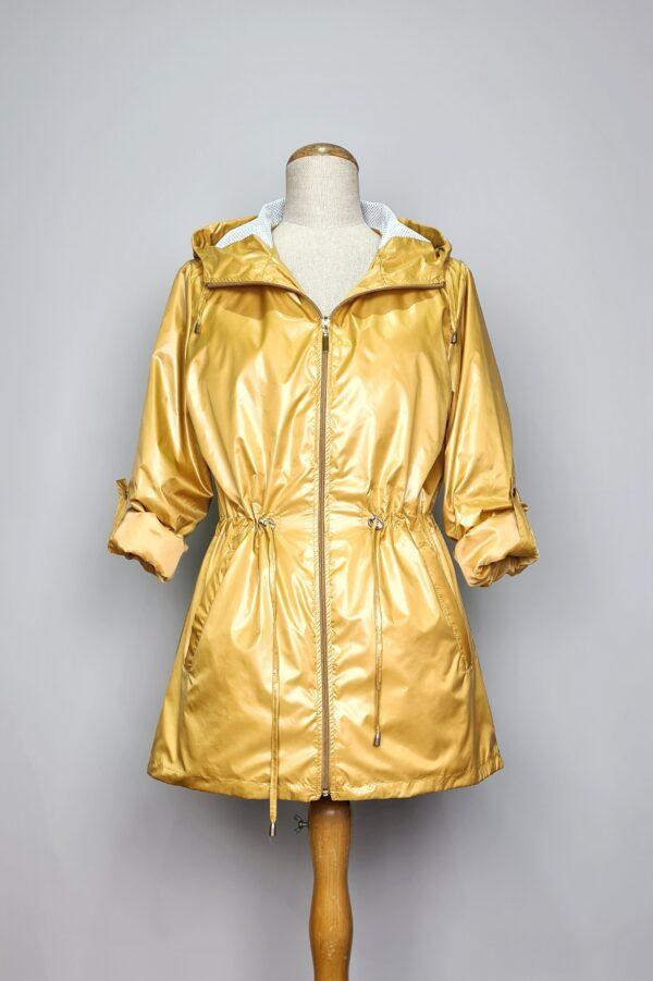 kurtka przeciwdeszczowa damska z kapturem iga zolta 4