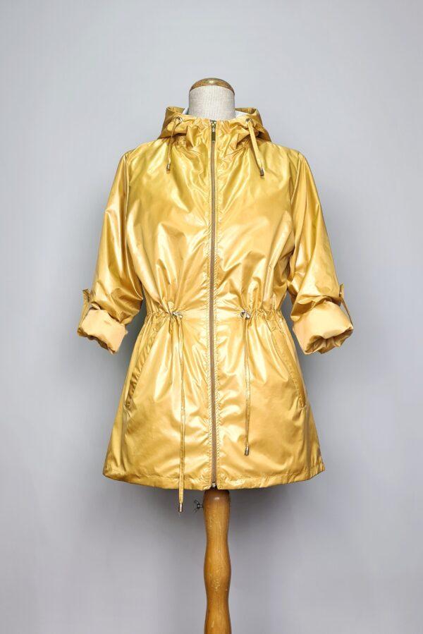 kurtka przeciwdeszczowa damska z kapturem iga zolta 3
