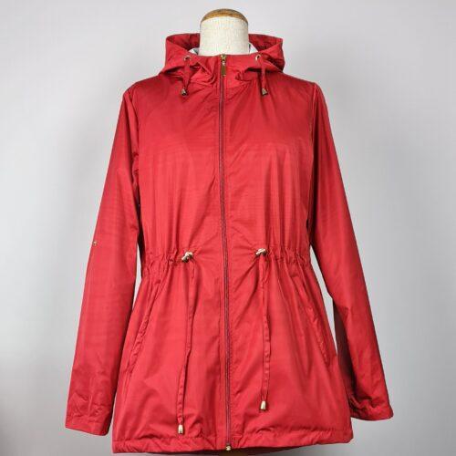 kurtka przeciwdeszczowa damska z kapturem iga czerwona 1