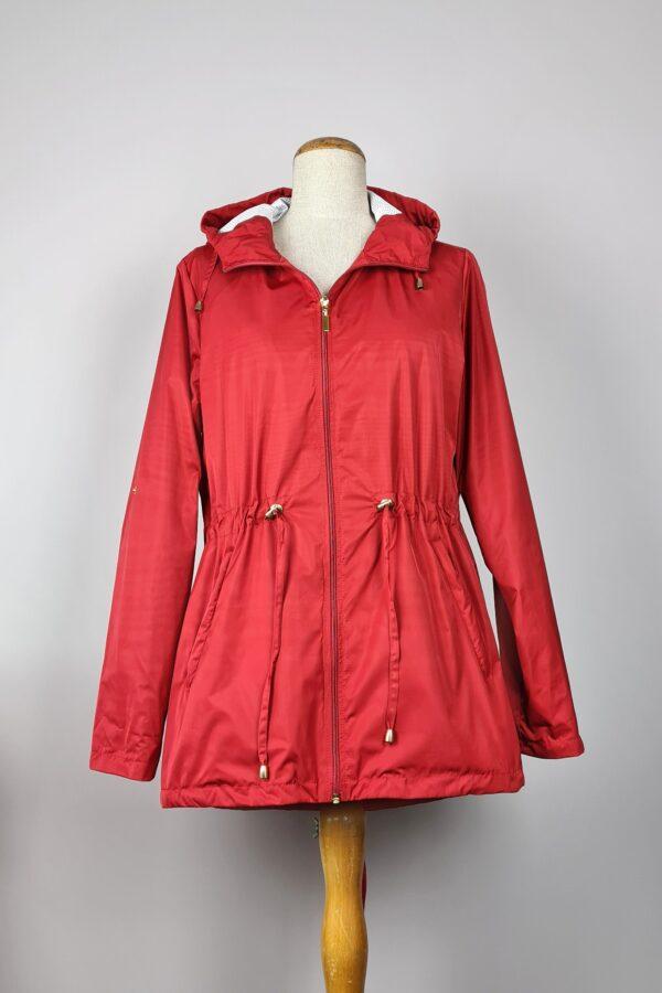 kurtka przeciwdeszczowa damska z kapturem iga czerwona 2