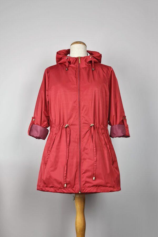 kurtka przeciwdeszczowa damska z kapturem iga czerwona 3