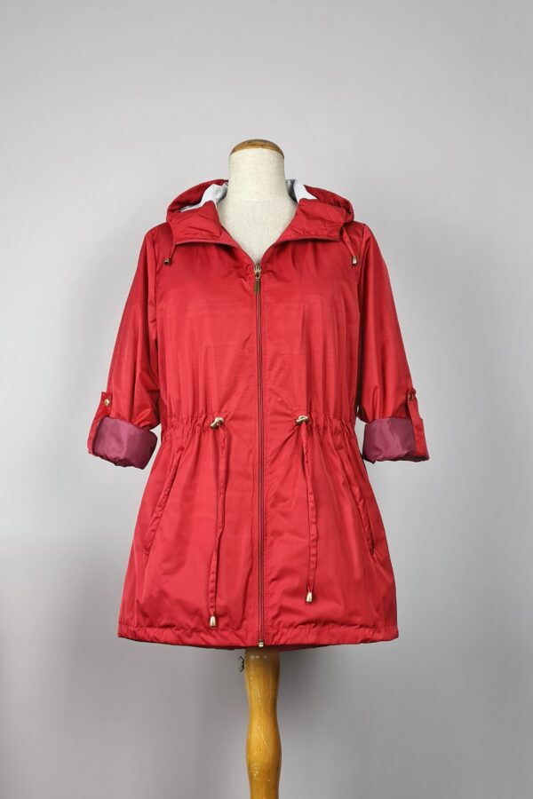 kurtka przeciwdeszczowa damska z kapturem iga czerwona 4